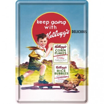 Blechschild 10162 - Kellogg´S Keep Going - 10 X 14 cm - Neu