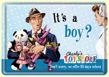 Blechschild 10217 - It´S A Boy ? - Charly´S Toystore - 10 X 14 cm - Neu