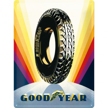 Blechschild 23243 - Goodyear Rainbow Wheel - 30 X 40 cm - Neu