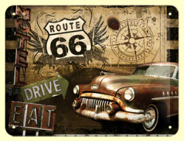 Blechschild 26119 - Route 66 - Drive Eat Road Trip - 15X20 cm - Neu