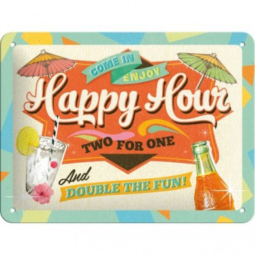 Blechschild 26152 - Happy Our - Two For One And Double The Fun - 15X20 cm - Neu