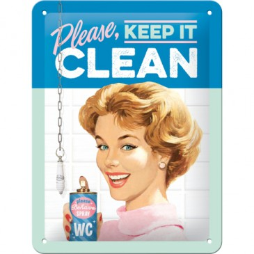 Blechschild 26211 - Please, Keep It Clean - 15X20 cm - Neu