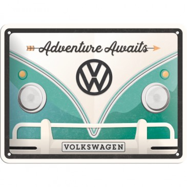 Blechschild 26222 - Volkswagen / Vw Bulli - Adventure Awaits - 15X20 cm - Neu