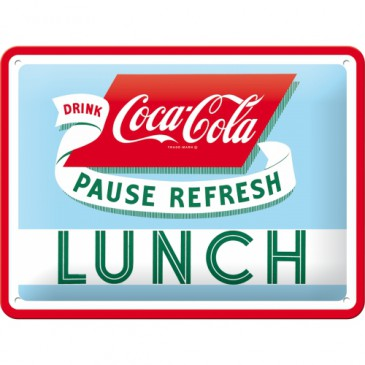 Blechschild 26223 - Coca-Cola - Pause Refresh Lunch - 15X20 cm - Neu