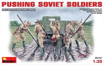 Miniart 35137 - 1/35 WWII Pushing Soviet Soldiers - Neu