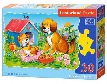 CASTORLAND B-03549-1 - DOGS IN THE GARDEN,PUZZLE 30 TEILE - NEU