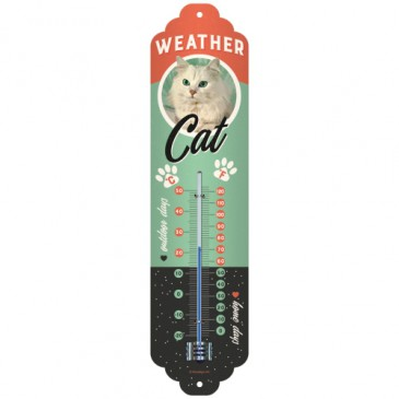 THERMOMETER 80319 - WEATHER CAT - 6,5 x 28cm - NEU