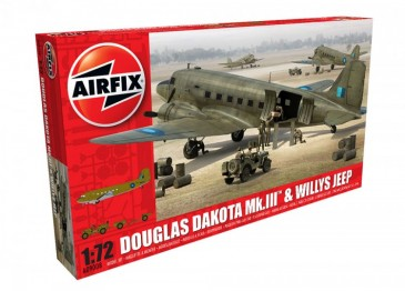 Airfix A09008 - 1/72 Douglas Dakota Mk.III With Willys Jeep - Neu