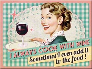 Magnet 14280 - I Always Cook With Wine - 8 X 6 cm - Neu