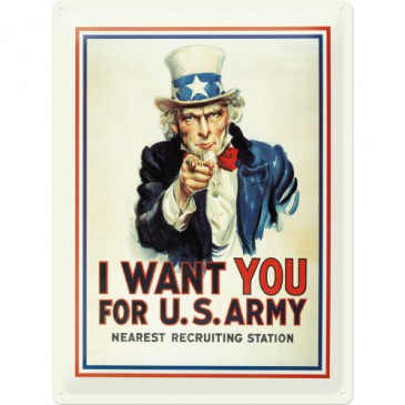 Blechschild 20317 - I Want You For Us Army - 30 X 40 cm - Neu