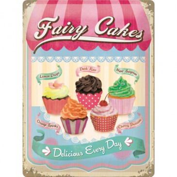 Blechschild 23158 - Fairy Cakes Cup Cakes - Fresh Every Day - 30 X 40 cm - Neu