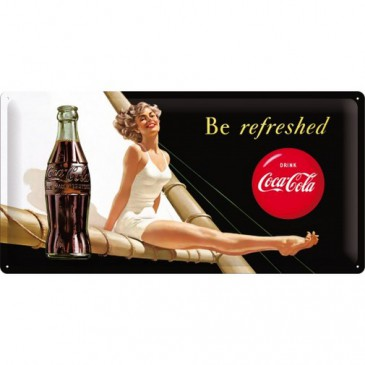Blechschild 27007 - Coca Cola - Be Refreshed - 25 X 50 cm - Neu