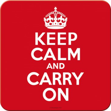 Metall Untersetzer 46134 - Keep Calm And Carry On - 9X9 cm - Neu