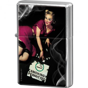Sturmfeuerzeug / Feuerzeug 80243 - Pin Up Girl - Smoking Permitted - Neu