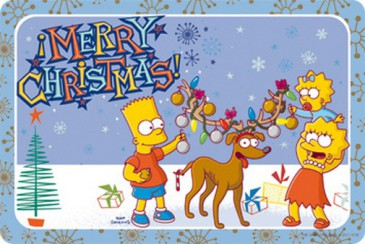 Blechschild S25 - The Simpsons - Merry Christmas - 20 X 30 cm